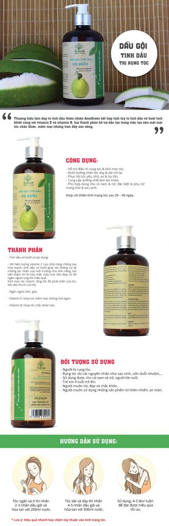 Dầu gội tinh dầu bưởi trị rụng tóc