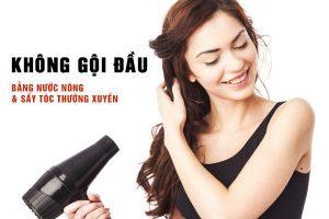 Gội đầu bằng nước nóng và sấy tóc thường xuyên